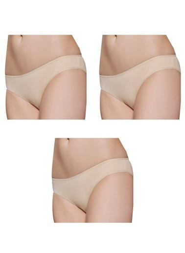 Gallipoli Kadın Pamuklu Bikini 3'Lü Paket Slip Külot  Ten
